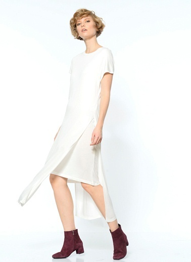Adpt Kısa Kollu Midi Elbise Beyaz
